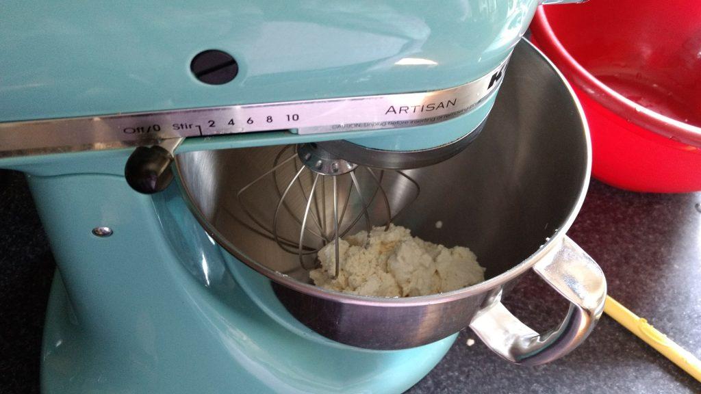 mixing soy milk cream